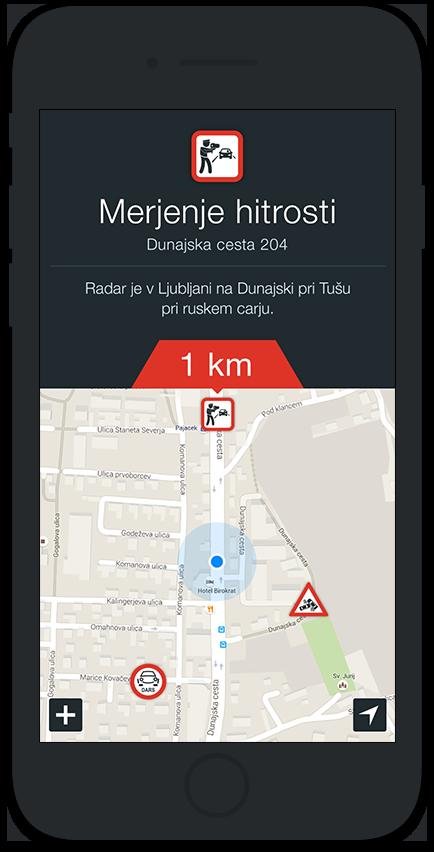 Radar alarm aplikacija screenshot